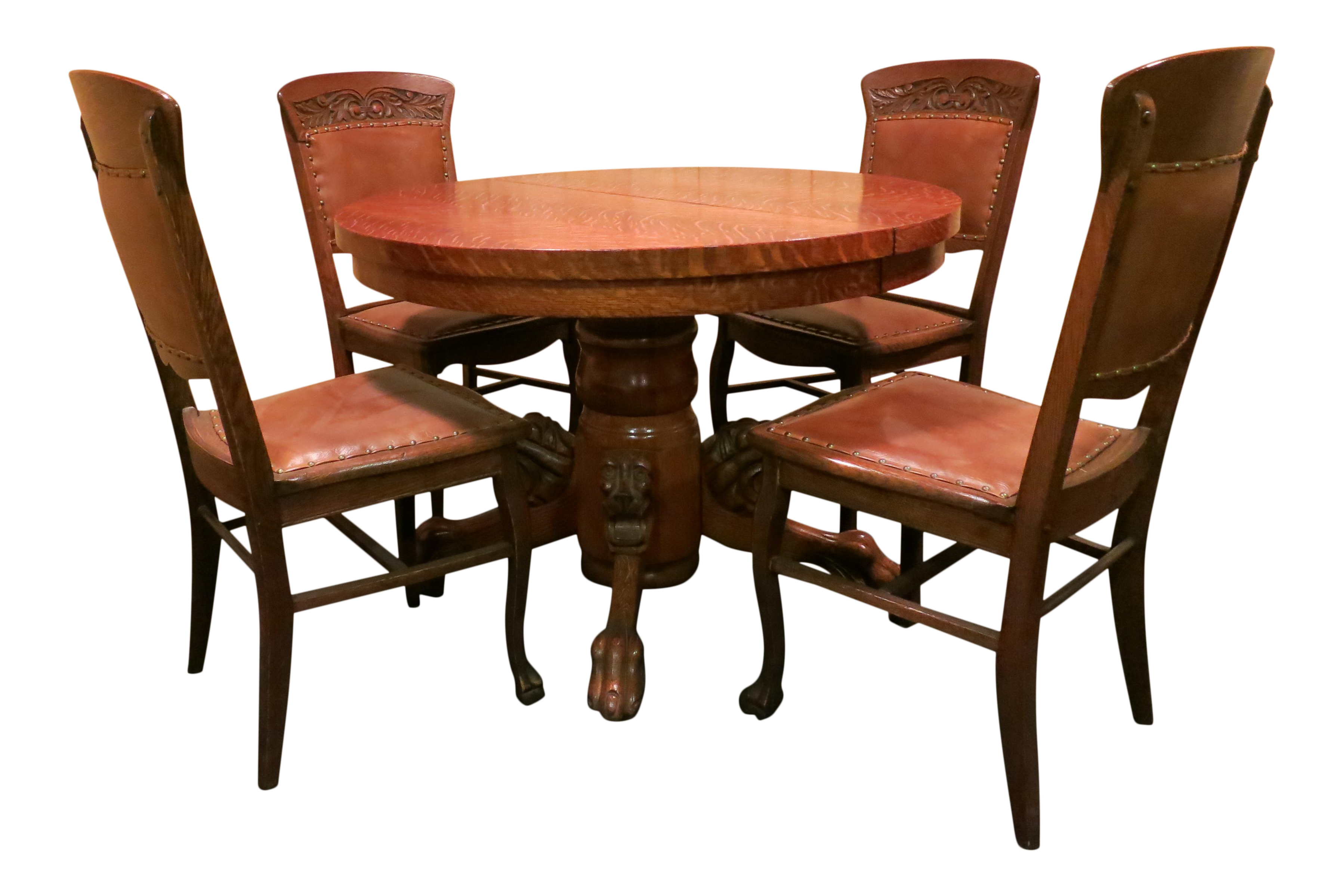 Antique Round Tiger Oak Table U0026 Chairs