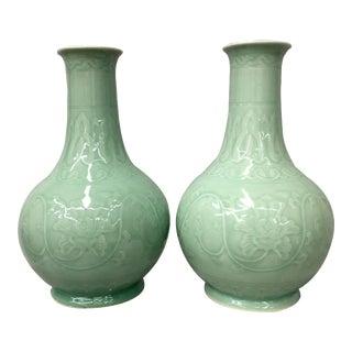 Long Neck Celedon Vases - A Pair