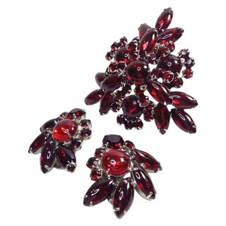Juliana Ruby Brooch & Earrings Set