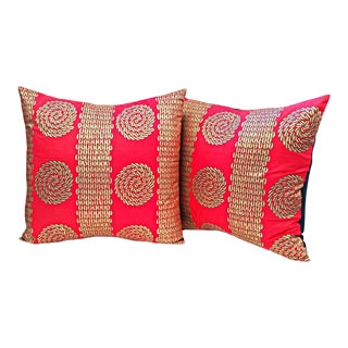 Red & Gold Cowrie Shell African Print Pillow Covers - A Pair