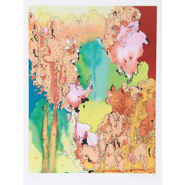 """V. Janopoulos, """"Psychedelic Abstract,"""" Lithograph - Image 1 of 2"""
