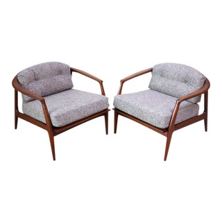 Pair of Staved Walnut Lounge Chairs by Milo Baughman