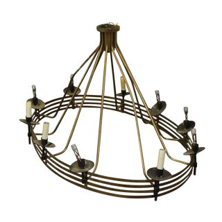 Large Mid-Century Modern Oval Chandelier With 10 Lights