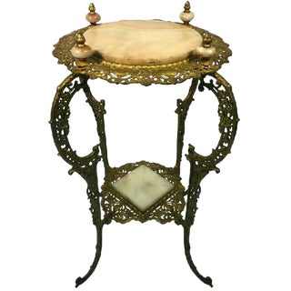 AMAZING ART NOUVEAU TWO-TIER ONYX AND GILDED IRON PLANT STAND
