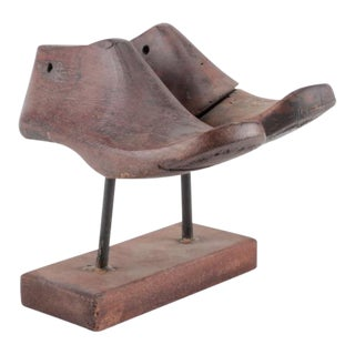 Vintage Wood Shoe Form Molds on Stand - a Pair
