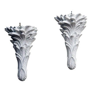 20th century Large Plaster Sconces after Serge Roche - a Pair