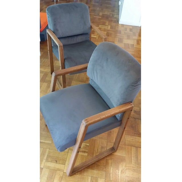 Mid-Century Modern Grey Cube Club Armchairs - Pair - Image 4 of 6