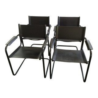 Italian Leather Arm Chairs - Set of 4