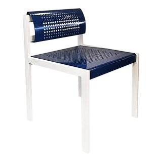 Modern Steel Patio Chair With Perforated Seat and Back