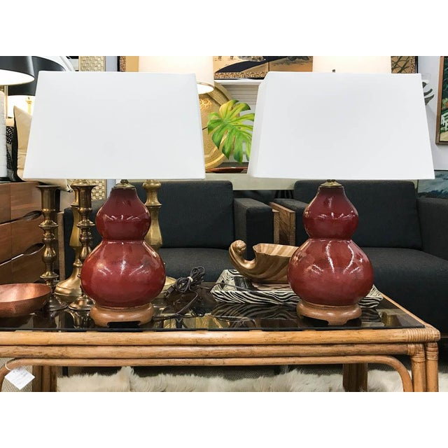 Mid-Century Pottery Gourd Lamps - A Pair - Image 3 of 8