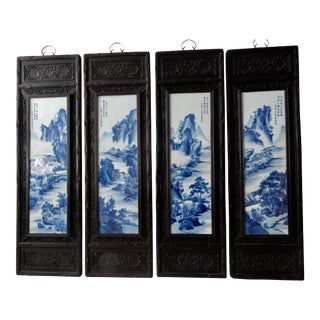 Chinese Carved Wood Framed Blue & White Porcelain Panels- Set of 4