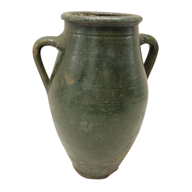 Antique French Green Terracotta Confit Pot - Image 1 of 4