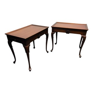 Queen Anne Style Mahogany Tea Tables Side End Tables - Pair