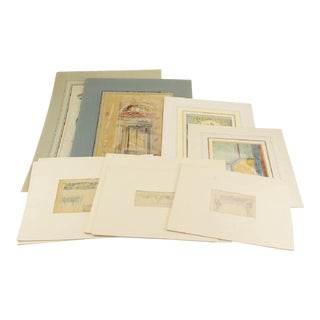 19th C. Architectural & Ornamental Drawings - Set of 9