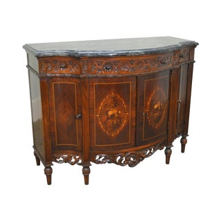 George III Marquetry Inlaid Walnut Marble Top Sideboard Cabinet circa 1930s