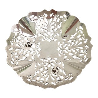 Antique English Silver Bowl With Open Fretwork