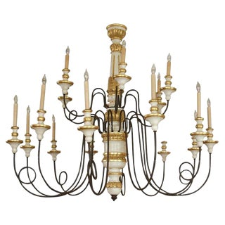 18 lite Iron & Wood Chandelier from Florence