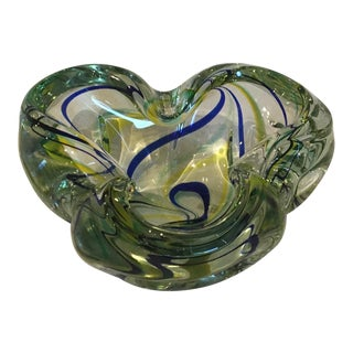 1950s Murano Hand-Blown Macchia Art-Glass Bowl
