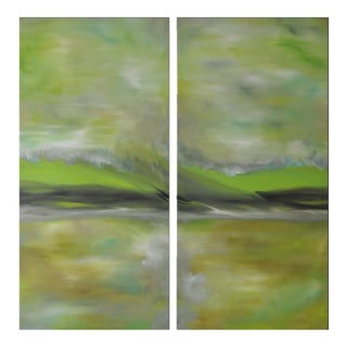 """Magnetize (#3 in Series)"" Original Abstract Landscape Paintings - A Pair"