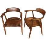 Image of Mid-Century Captain's Chairs - A Pair