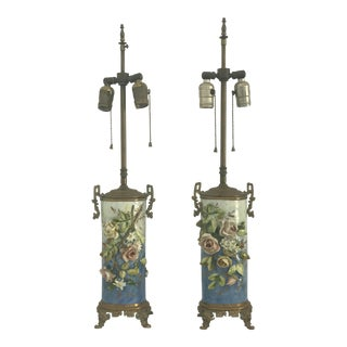 Antique French Pottery Lamps - A Pair