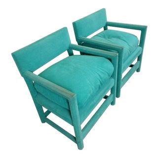 Milo Baughman Style Custom Turquoise Parson's Chairs - a Pair