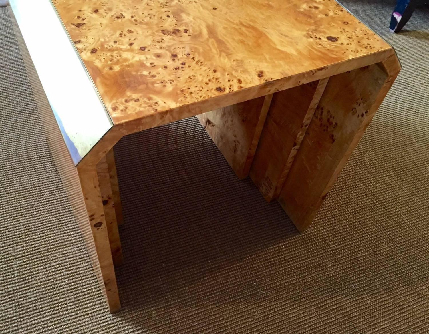 Burl Wood Waterfall Nesting Tables   Set Of 3   Image 5 Of 5