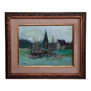 Jordi Bonas Sailboats Modernist Oil Painting