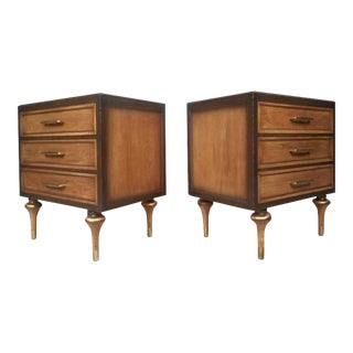 Vanleigh Furniture Mid-century Modern Three-drawer Nightstands - a Pair