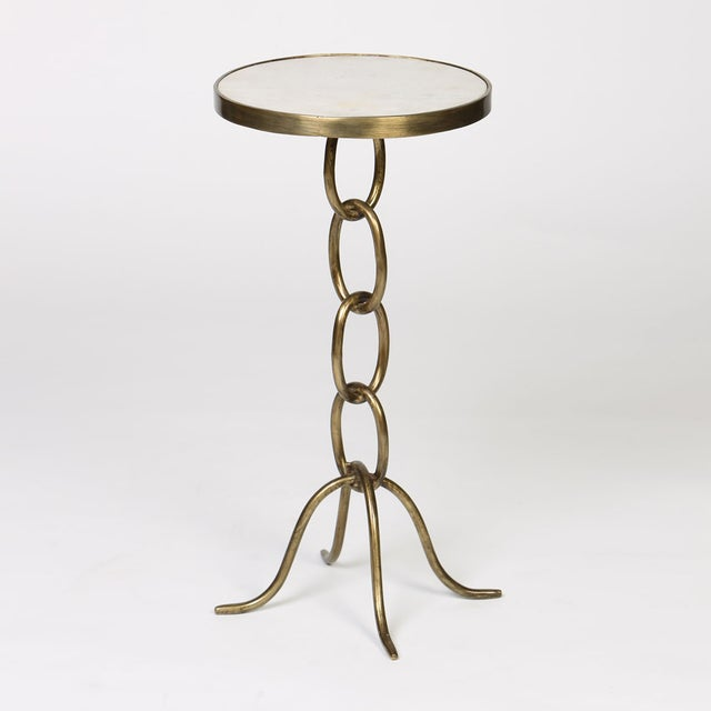 Image of Gilded Iron Cigar Table With White Marble Top