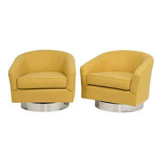A Pair of Wool Upholstered Swivel Chairs 1970s