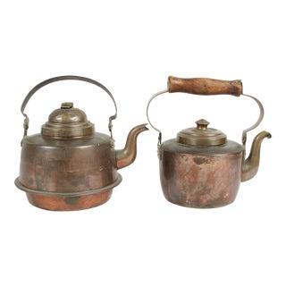 Antique Copper Kettles - A Pair