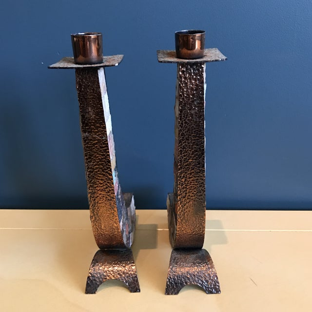 Stone & Copper Mosaic Shabbat Candlesticks - A Pair - Image 5 of 6