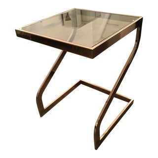 Zig Zag Lacquered Brass and Glass Petite Square Top Side Table by DIA