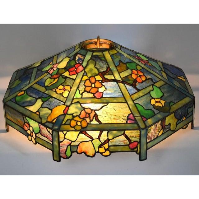 "Image of Tiffany ""Flowering Trellis"" Glass & Bronze Pendant"