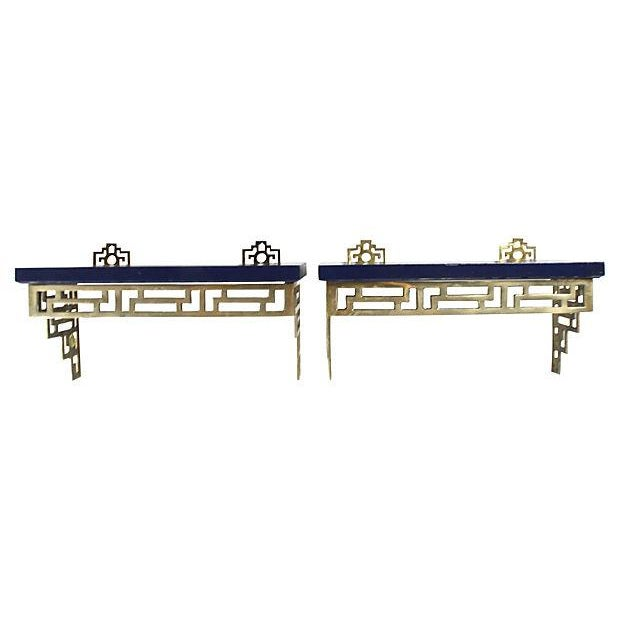 Chinoiserie Brass Wall Shelves - A Pair - Image 1 of 6
