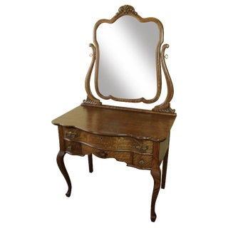 Antique Oak Vanity With Beveled Mirror