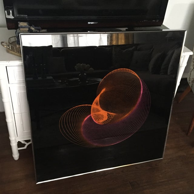 Extra Large Mid-Century Op Art Abstract Spirograph Kidney Bean Framed Graphic Art - Image 5 of 11