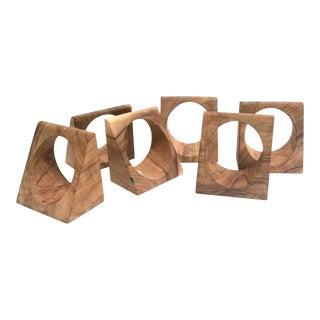 Mid century modern wooden napkin rings - set of 6