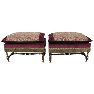 A Pair of 17th Century Spanish Benches with Metallic Embroidery