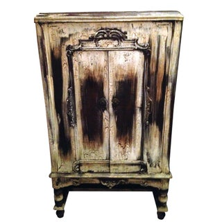 Vintage 1930s Distressed Wood Phonograph Cabinet