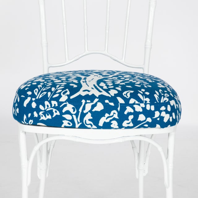 Chinoiserie White Powder-Coated Metal Faux Bamboo Dining Set - Image 5 of 9