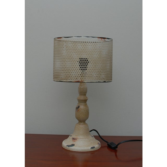 Rustic Cream Metal Hole Punched Table Lamp - Image 2 of 5