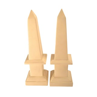 Ivory Ceramic Obelisks - A Pair