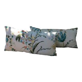 Floral Silk Print Lumbar Decorative Pillows - A Pair