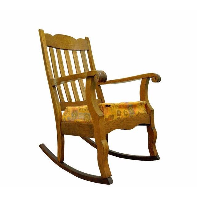 Antique Mission Arts & Crafts Carved Solid Oak Rocking Lounge Chair - Image 11 of 11