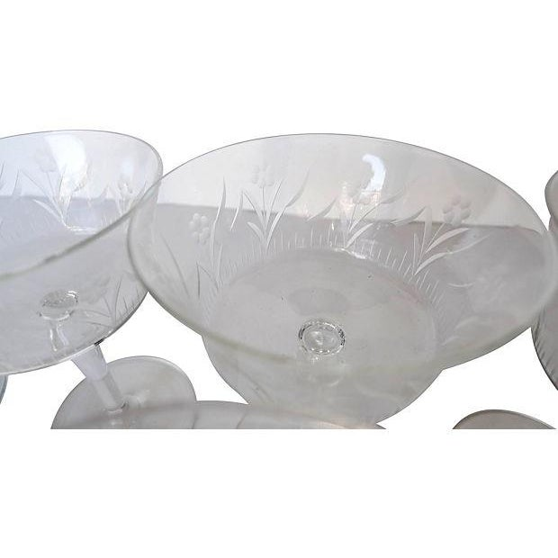 Etched Floral Pattern Crystal Coupe - Set of 6 - Image 7 of 7