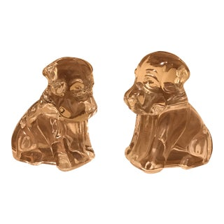 Glass Dog Candy Container Figurines - A Pair