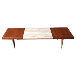 Mid-Century Modern Refinished Travertine Coffee Table