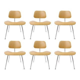 "Charles Eames ""DCM"" Chairs for Herman Miller in White Ash - Set of 6"
